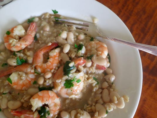 Savory Beans & Oat Groats with Shrimp