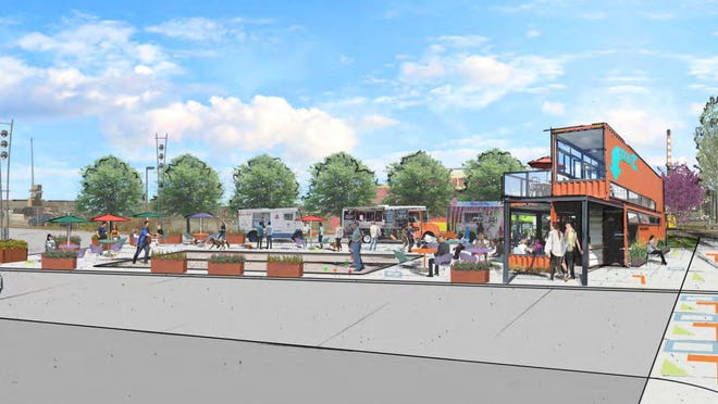 A 2018 artist's rendering shows a concept for a lot meant for festivals and other events that could be built along Business Loop 70 as part of the Loop Community Improvement District's master plan. The tax that would support the improvements is being challenged in a long-running court case.