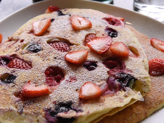 The Record's food editor Esther Davidowitz and chef Ariane Duarte go on a food crawl through Montclair, NJ on Thursday November 09, 2017. Berry pancakes at the Tiny Elephant.