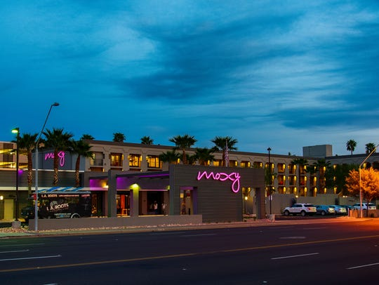 Views of the Moxy Hotel in Tempe.