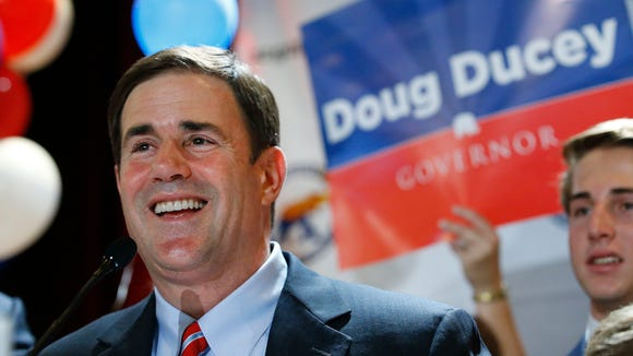 Former Cold Stone CEO and gubernatorial candidate Doug Ducey  thanks his supporters  during the Republican Primary Election party at the Hyatt Regency Tuesday, Aug. 26,  2014 in Phoenix,  Ariz.