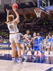 Notre Dame's Maureen Butler goes up for the shot in a 92-64 ACC victory Feb. 1 over Notre Carolina.