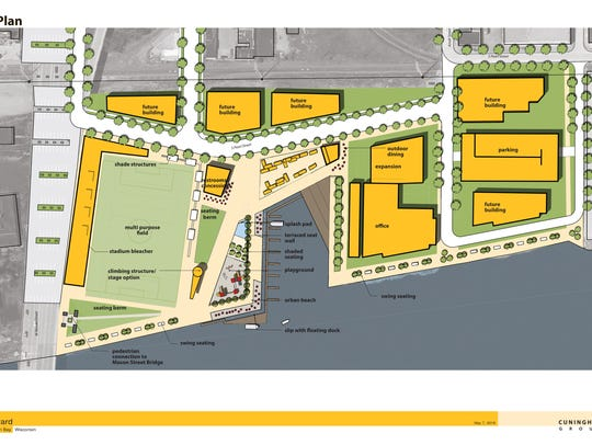 A master plan concept for the Shipyard area shows the