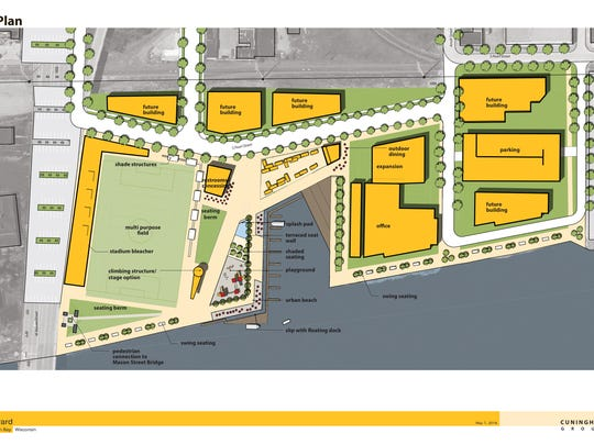A master plan concept for the Shipyard area shows the public amenities to the left and longer-term private developments to the right.