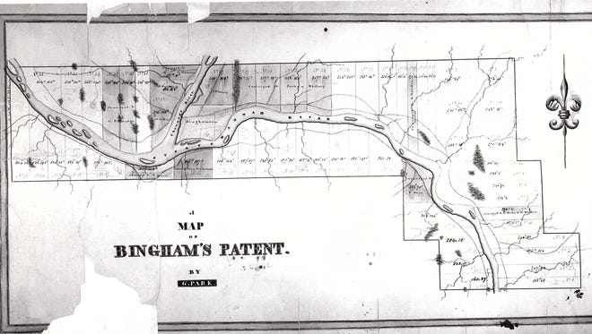 Bingham's Patent, from about 1805, showing many of the area's early roads.