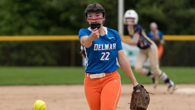 Delmar's Tracy Pleasanton (22) pitches in the DIAA softball semifinals at Lower Sussex Little League in Frankford, DE.