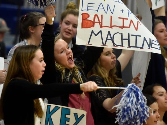 Geraldine-Highwood fans cheer during Thursday's game