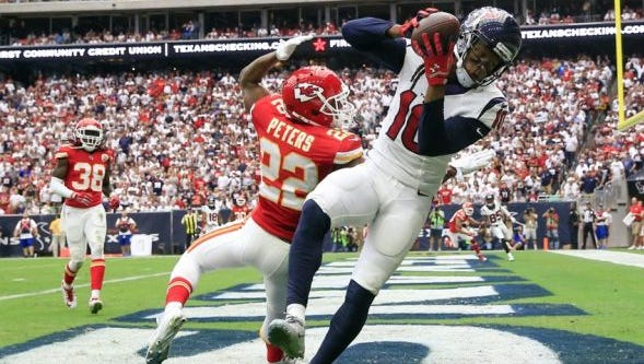 DeAndre Hopkins of the Houston Texans hauls in a touchdown pass against the Kansas City Chiefs last season.