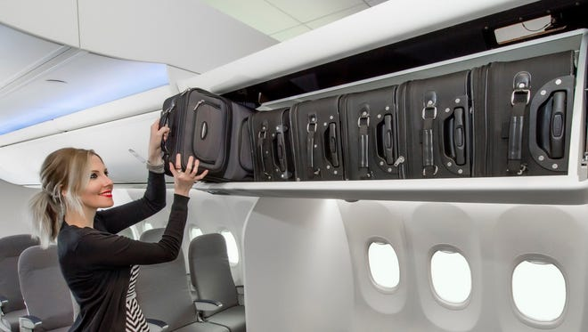 This hand-out photo from Boeing shows the design of its new Space Bins for its Boeing 737 aircraft.