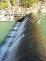 The dam at Noblett Lake was built in the 1930s by the