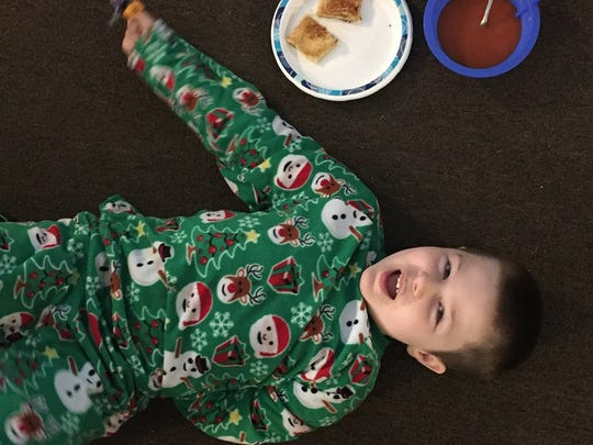 Josh Colbert, 6, has soup, grilled cheese and pajamas