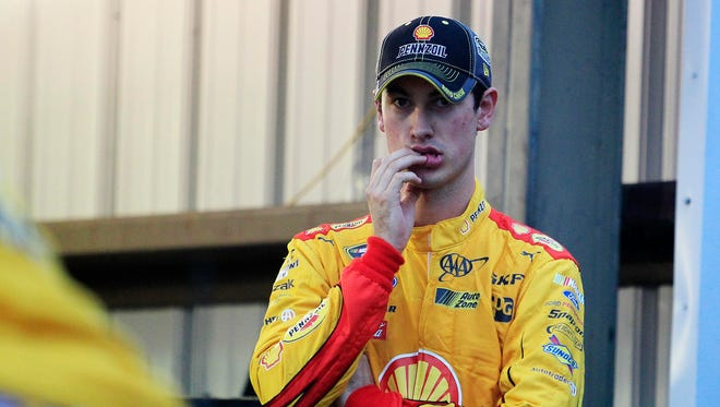 Sprint Cup Series driver Joey Logano (22) in the garage after being wrecked out during the Goody's Headache Relief Shot 500 at Martinsville Speedway.