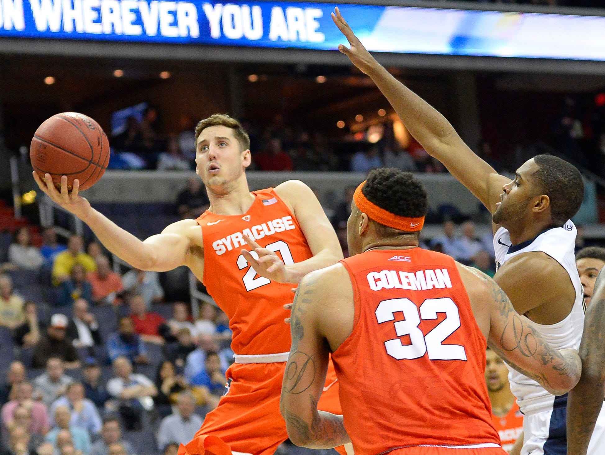 Syracuse's Tyler Lydon takes a scoop shot against Pittsburgh during the ACC tournament in Washington, D.C. on March 9.