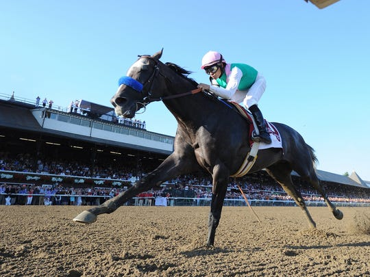 Arrogate winning Travers Stakes at Saratoga Race Course in track record of 1:59.36 for one-and-one-quarter mile. Saratoga first started thoroughbred racing in 1863.