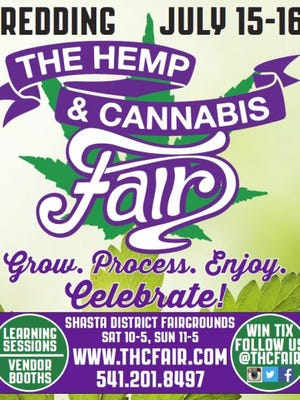 A poster for The Hemp & Cannabis (THC) Fair, set to take place in mid-July at the Shasta District Fairgrounds.