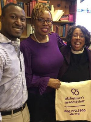 This photo was taken at the first Purple Sunday event at St. Paul's Episcopal Church in Spring Valley. From left are Andres Standard of the Alzheimer's Association, Linnette Livermore and the Rev. Cheryl Parrish of St. Paul's Episcopal Church.
