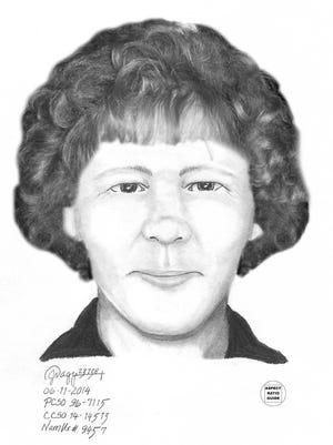 A sketch of what police believed the woman looked like before her death.