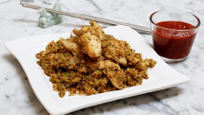 Italian stir-fry with seared chicken breast and marinara features finely chopped broccoli and cauliflower instead of rice in this vegetable-forward version of the classic Asian dish.