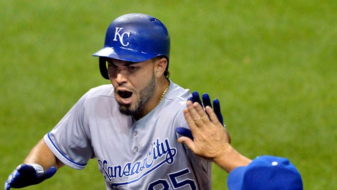Kansas City Royals first baseman Eric Hosmer (35) celebrates his solo home run in the ninth inning against the Cleveland Indians at Progressive Field.