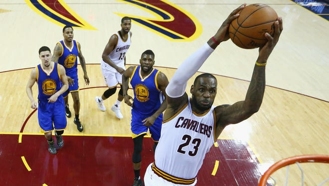2016 Finals: LeBron James soars for a dunk during Game 6.