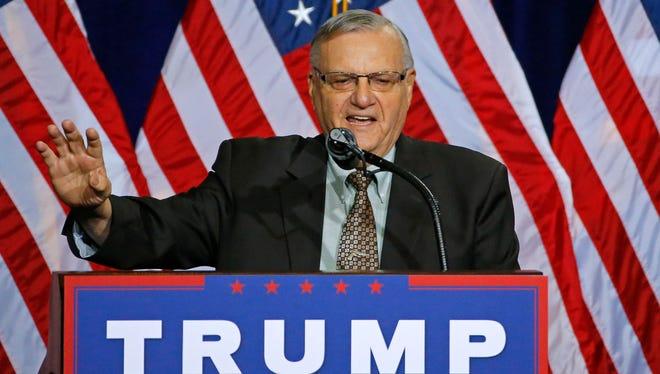 Maricopa County Sheriff Joe Arpaio at a Trump rally in Phoenix.
