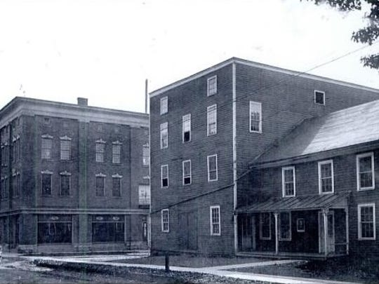 Standard Typewriters first production facility, right, alongside the Groton Carriage Works building on the left, circa 1894. Corona moved into the vacated Carriage Works building in 1909 and moved into a new facility in 1916.