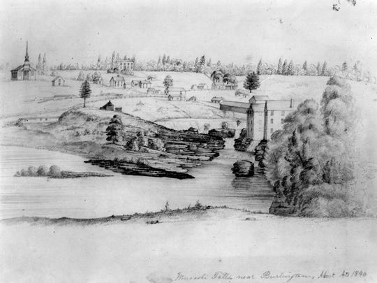 Winooski Falls near Burlington, 1840.