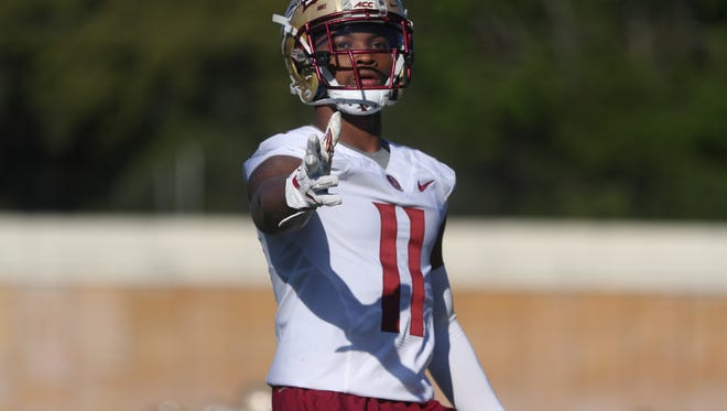 FSU's Nyqwan Murray lines up during spring practice at the Al Dunlap Training Facility on Wednesday, March 21, 2018.