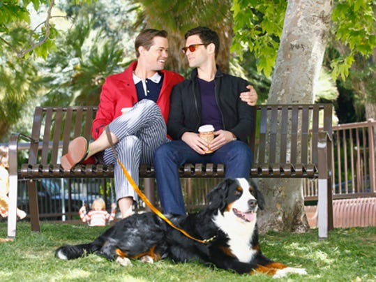 This image released by NBC shows Andrew Rannells as Bryan, left, and Justin Bartha as David in a scene from 'The New Normal.' Photo by ASSOCIATED PRESS