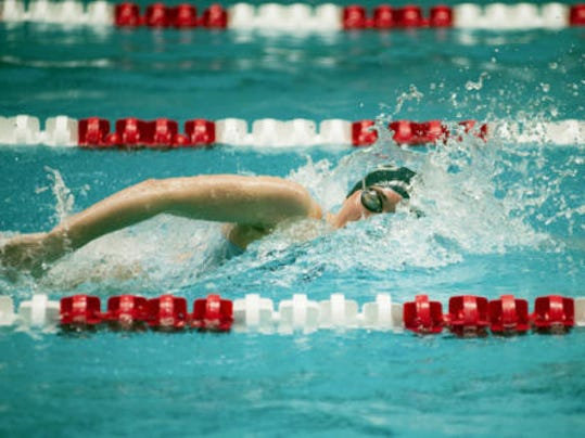 West York freshman Courtney Harnish shown during her District 3 record-breaking 200 freestyle.