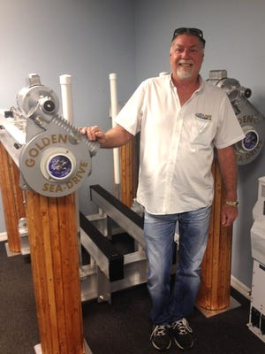 Bill Golden at his company, Golden Manufacturing. The North Fort Myers-based company opened in 1996 and is an aluminum and stainless steel manufacturing facility for the marine industry. It specializes in boat lifts, tiki huts and floating docks.