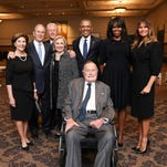 Historic photo: George H.W. Bush, George W. and Laura Bush, the Clintons, the Obamas and Melania Trump huddle for a picture