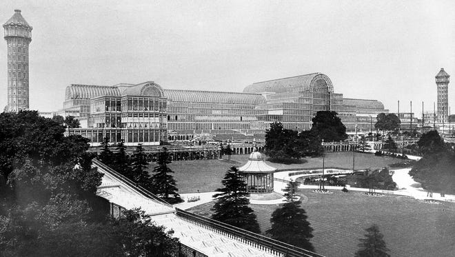 This undated photo shows the Crystal Palace built for the Great Exhibition of 1851 in London.  The palace, built entirely of cast iron and glass, was destroyed by a fire in 1936.