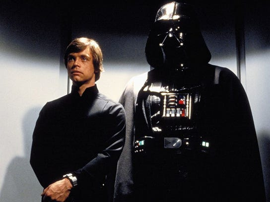 Mark Hamill, at left, and David Prowse (Darth Vader) in a scene from 'Star Wars: Episode VI - Return of the Jedi.'