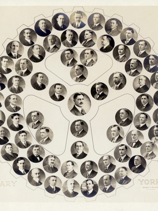 This membership roster of the Rotary Club of York is believed to be from 1927. The man in the center of the circle is Morgan Gipe, a York businessman who wanted to bring the club to his hometown after visiting the Harrisburg Rotary. The first meeting included 27 members in 1916, so this photo chronicles the rapid growth in its first 11 years. The club's initial projects involved city infrastructure, such as installing street signs and paving Country Club Road.