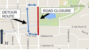South Monroe Street will be closed at night on April 29 and April 30.