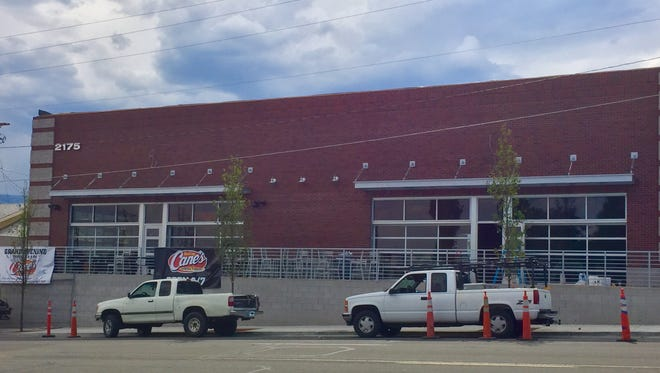 Construction proceeds at the second and newest Raising Cane's in Reno in preparation for a Sept. 7, 2017, opening. The restaurant is across from the northern stretch of the University of Nevada campus.
