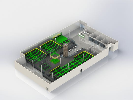 This rendering shows the layout of Rockin' Jump trampoline park in Montgomery.