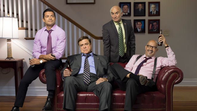 Each Friday brings a new episode of 'Alpha House,' starring Mark Consuelos, left, John Goodman, Matt Malloy and Clark Johnson as Republican senators sharing a DC townhouse.