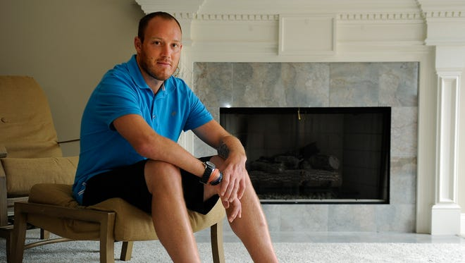 Former Titans linebacker Tim Shaw is battling ALS.  Tuesday July 14, 2015, in Nashville, Tenn.
