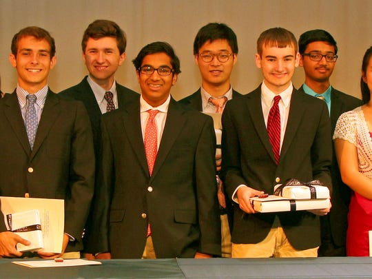 Pictured here are the new 14 newest members of the Cum Laude Society at Pingry School in Bernards. Established in 1906 and modeled after Phi Beta Kappa, the Cum Laude Society honors academic excellence and scholarship among its 382 member high schools. Membership in this academic organization is limited to 20 percent of each Pingry class, with half elected as juniors and half elected as seniors. These seniors were selected for the Cum Laude Society at the end of their junior year. From left to right are: Sharanya Pulapura of Bridgewater, James Chartouni of Essex Fells, Elizabeth Kraeutler of Convent Station, Christina Ou of Berkeley Heights, Peter Rothpletz of Lebanon, Hunter Stires of Bedminster, Gaurav Gupta of Short Hills, Peter Shim of Warren, Andrew Verdesca of Mendham, Abhiram Karuppur of Warren, Claudia Jiang of Stirling, Maxwell Leef of Basking Ridge, Tiffany Yu of Warren, and Kimberly Chen of Metuchen. For more background: http://www.pingry.org/page.cfm?p=302&newsid=958