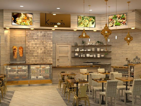 A rendering of Kareem's Lebanese Kitchen, opening in