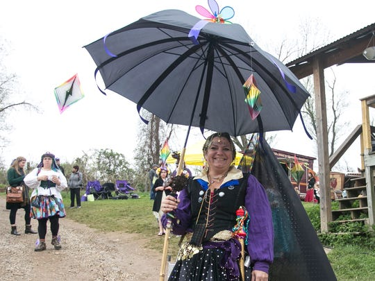 Beth Stine, of Windsor, poses for a photo dressed as a Dark Fae at the 25th Annual Fairie Festival Saturday, April 30, 2016, at Spoutwood Farm in Codorus Township. Amanda J. Cain photo