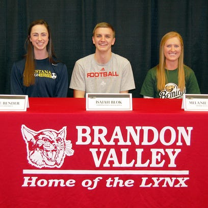 A trio of Brandon Valley senior student-athletes signed theirNational Letters of Intent. Grace Bender (from left) will play soccer at Augustana University, Isaiah Blok is headed to Northwestern College to play football, and Melanie Peltier will play soccer at Bemiddji State.