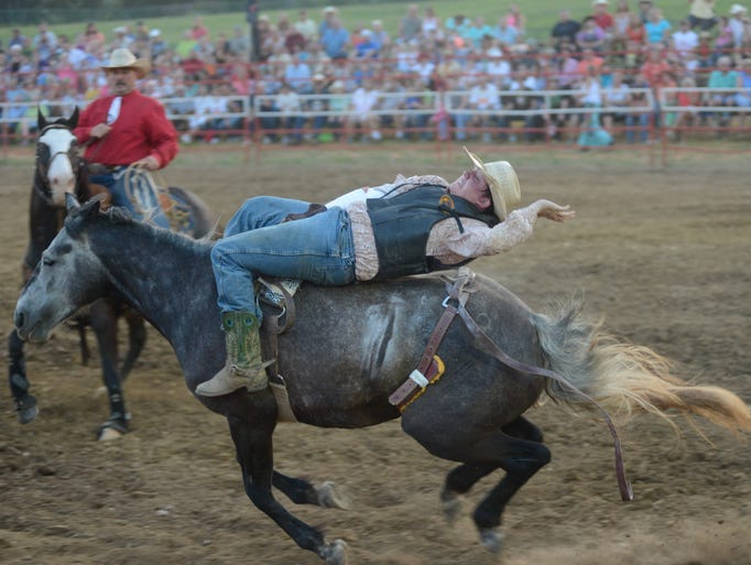 Kyle Page competes as a bareback rider during the Bold Enough Rodeo Challenge at Triple Creek Park in Gallatin on Saturday, July 12.