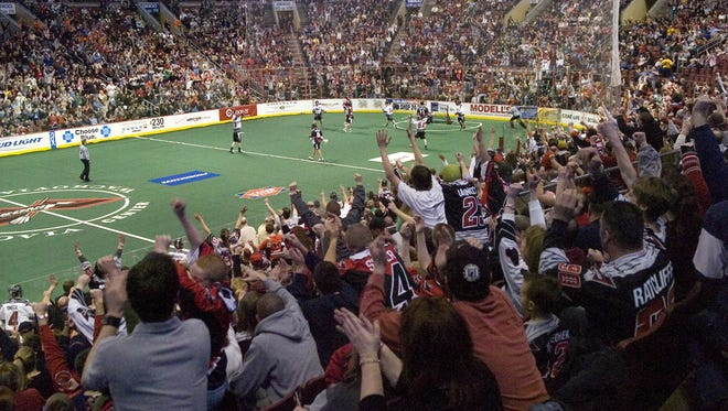 The crowd rises to its feet cheering as the Philadelphia Wings score against the San Jose Stealth during the game Friday, March 14, 2008 at the Wachovia Center in Philadelphia. The Wings won the game 16-13. Denise Henhoeffer/Courier-Post