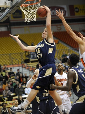 Montana State's Bobby Howard grabs a rebound against Idaho State on Jan. 24, 2010.