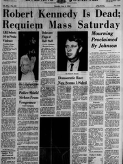 The front page of the Wilmington Evening Journal on Thursday, June 6, 1968.