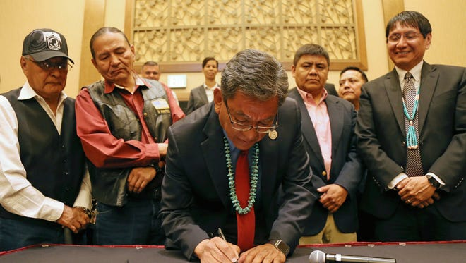 Navajo Nation President Russell Begaye signed a resolution on Saturday at Twin Arrows Navajo Casino Resort in Flagstaff, Ariz., that makes several changes to the tribe's veterans affairs department.