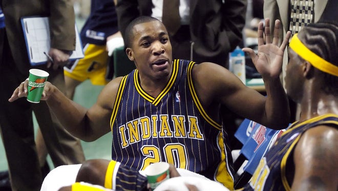 Former Indiana Pacers Fred Jones, shown here during the second game of the second game of the Eastern Conference Playoffs  against the Boston Celtics.